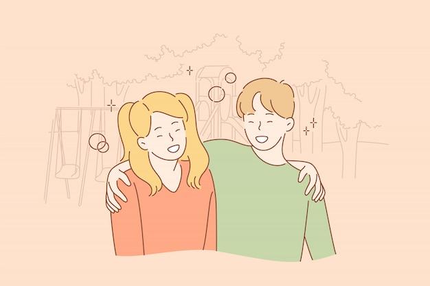 Amizade, abraçando, conceito de felicidade