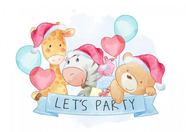 Amizade animal dos desenhos animados, segurando placa de festa