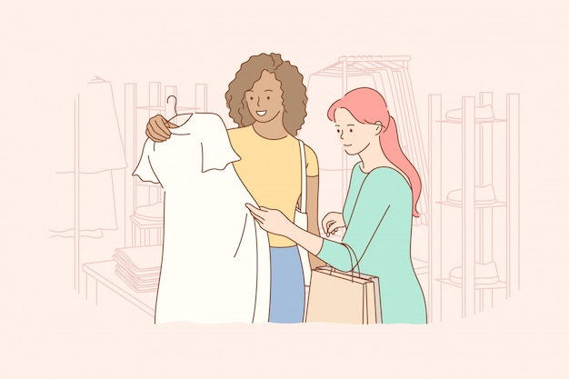 Amizade, compras, recreação, moda, conceito de beleza