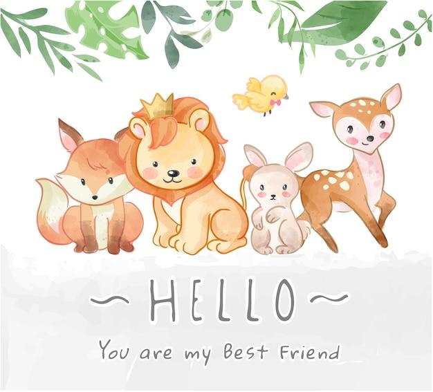 Amizade de animais selvagens fofos e ilustração de olá