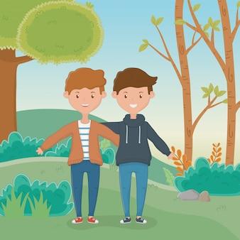 Amizade de desenho de desenhos animados de meninos