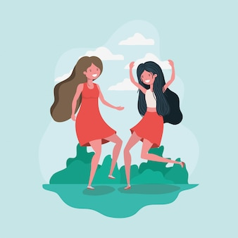 Amizade de desenhos de meninas