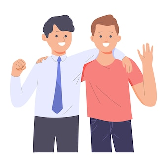 Amizade de dois jovens de diferentes profissões, dois homens abraçando os braços um do outro