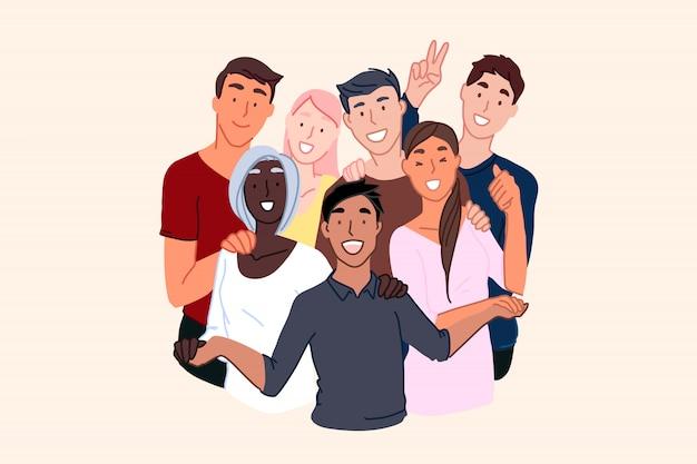Amizade de nacionalidades, sociedade cosmopolita, ilustração da comunidade internacional