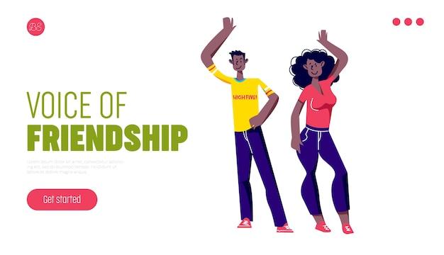 Amizade entre o conceito de página de destino masculino e feminino com desenhos animados dando mais cinco.