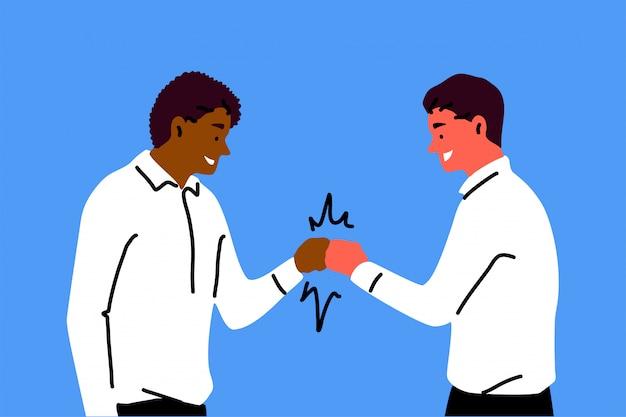 Amizade, equipe, saudação, congatulação, conceito de sucesso