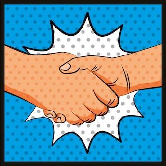 Amizade mãos saudação pop art