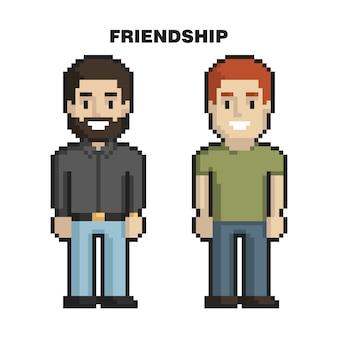 Amizade masculina. arte de pixel de dois amigos no fundo branco