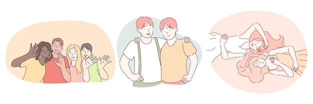 Amizade mestiça de amigos internacionais