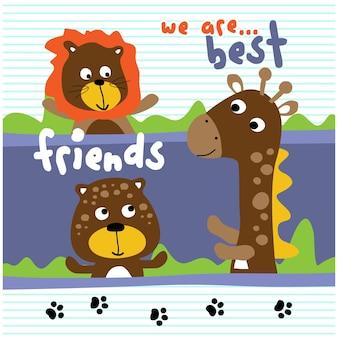 Amizade no zoológico desenho animado animal