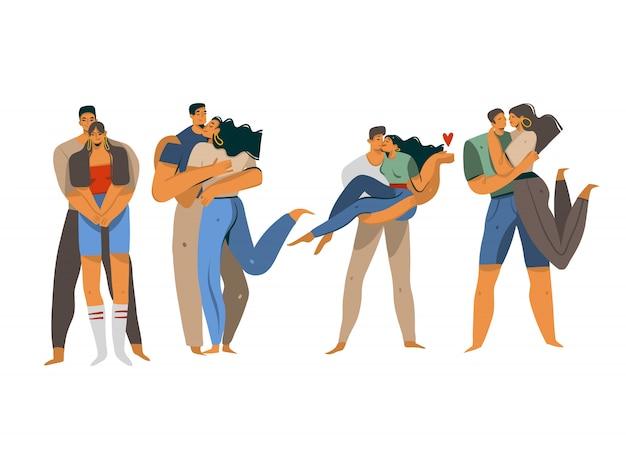 Amo a coleção de ilustrações definida com jovem beijo romântico caminhando pessoas casais juntos isolados no fundo branco.