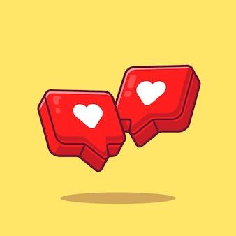 Amo a ilustração do ícone dos desenhos animados do coração. conceito de ícone de objeto de símbolo isolado. estilo flat cartoon