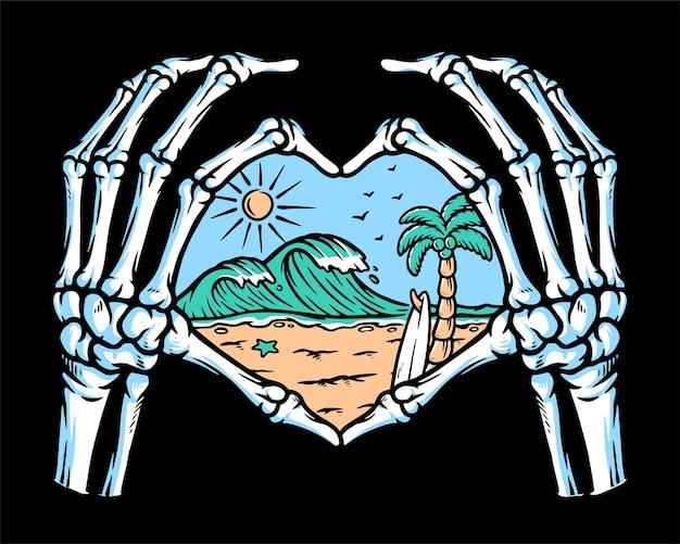 Amo a praia na ilustração da mão do crânio
