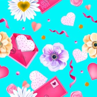 Amo a primavera dia dos namorados sem costura padrão, fundo com flores anêmona, envelopes, corações, confetes. textura de repetição floral de férias românticas em azul. padrão de flor ornamental para dia dos namorados