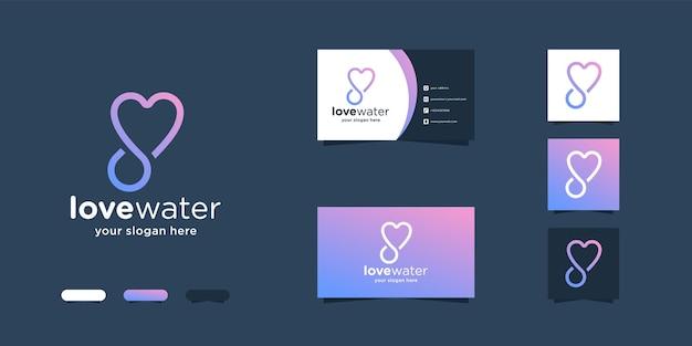 Amo água, conceito de amor criativo com design de logotipo de água e modelos de cartão de visita