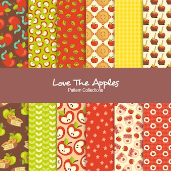 Amo as coleções de padrão de maçãs