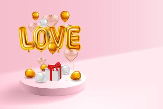 Amo balões brilhantes metálicos de hélio realistas, caixa de presente, pedestal inerior, balões dourados voando