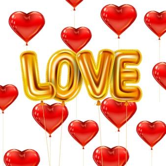 Amo balões brilhantes metálicos de ouro hélio realistas. forma de balões de coração vermelho voador