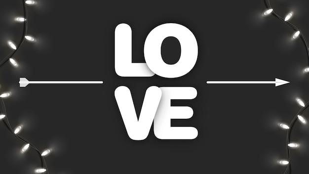 Amo caligrafia com seta cupido no preto com guirlanda brilhante. dia dos namorados, dia da mulher, banner da mãe. arte e