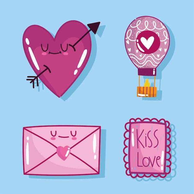 Amo cartão de carta de mensagem de correio de coração romântico em design de estilo cartoon