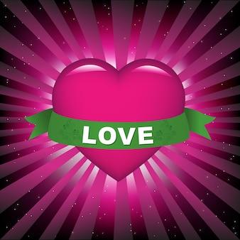 Amo coração com fita