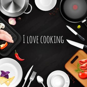 Amo cozinhar fundo realista