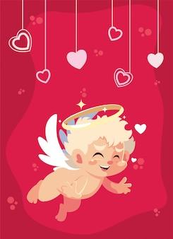 Amo cupido cartoon e ilustração de corações