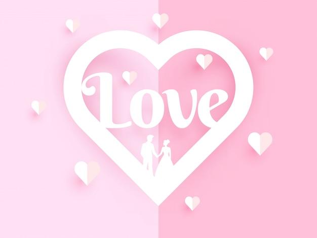 Amo design de cartão com ilustração de papel cortado coração s