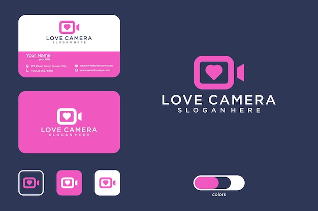 Amo design de logotipo de câmera e cartão de visita