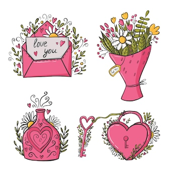 Amo elementos de design de doodles Vetor Premium