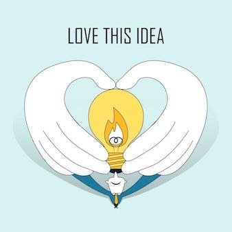 Amo essa ideia: mãos segurando uma lâmpada em estilo de linha