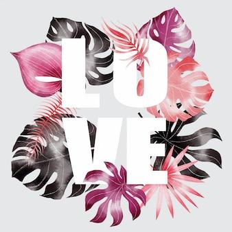 Amo feliz dia dos namorados banner com fonte e folhas tropicais
