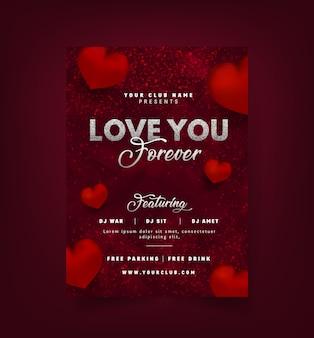 Amo festa flyer com 3d corações cor vermelha.