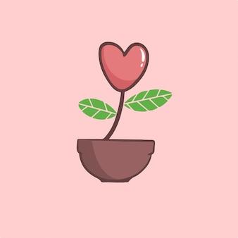 Amo flores em ilustração vetorial de símbolo de vaso
