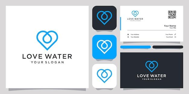 Amo gota de água logotipo ícone símbolo modelo logotipo e cartão de visita