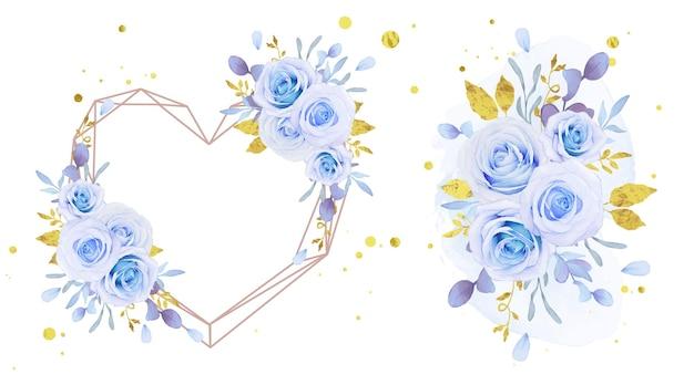 Amo grinalda de flores e buquê de rosas azuis em aquarela