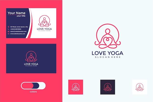 Amo ioga com design de logotipo de estilo de linha e cartão de visita