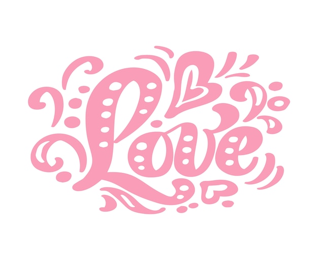 Amo letras de caligrafia rosa