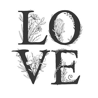 Amo lettering cartão para dia dos namorados com letras maiúsculas decoradas com flores.