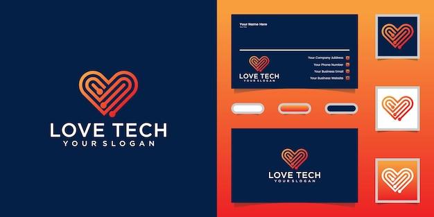 Amo logotipo e cartão de visita de arte de linha de tecnologia