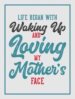 Amo minha mãe letras citações de tipografia