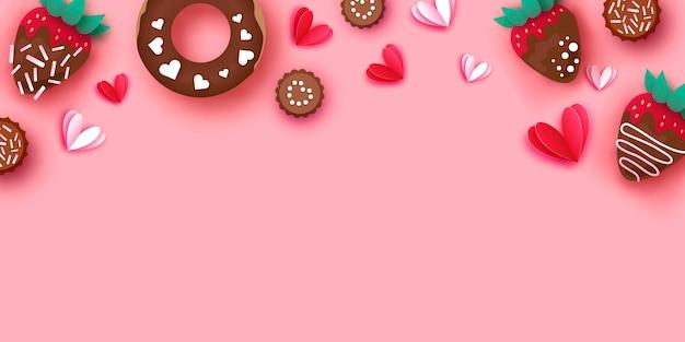 Amo morango e chocolate, donut.
