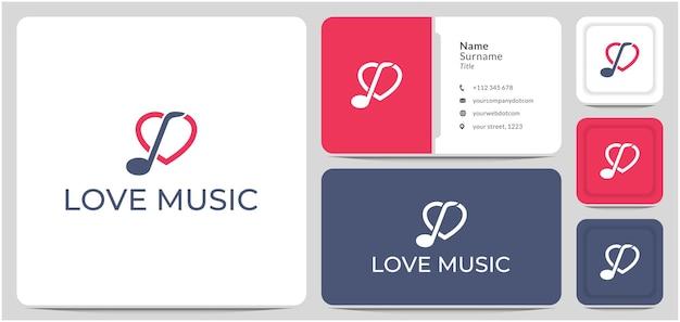 Amo música coração nota design de logotipo símbolo vetor