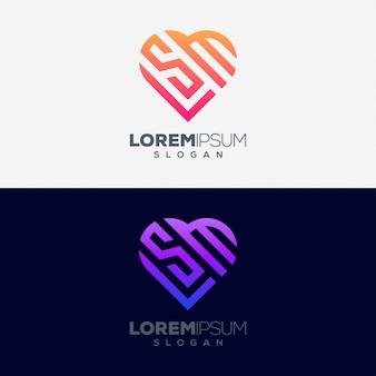 Amo o conceito colorido design de logotipo