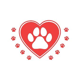 Amo o conceito de animais com coração e pata. impressão de cachorro ou gato. vetor.