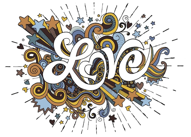 Amo o desenho de elementos de letras e rabiscos de mão