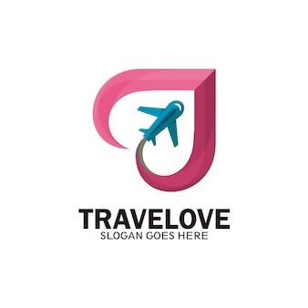 Amo o design de logotipo de viagens, design de logotipo para viagens de negócios