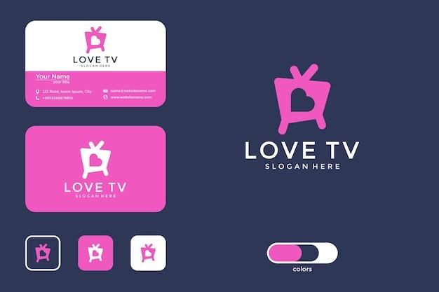 Amo o design de logotipo e cartão de visita da televisão