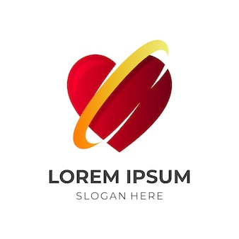 Amo o design do logotipo com estilo 3d de cores vermelho e amarelo