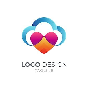 Amo o design do logotipo da nuvem